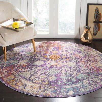 Sutton Lavender/Ivory 6 ft. x 6 ft. Round Area Rug