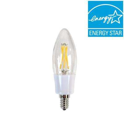 40W Equivalent Incandescent B10 Candelabra Dimmable LED Filament Light Bulb