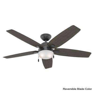 Antero 54 in. LED Indoor Matte Black Ceiling Fan with Light