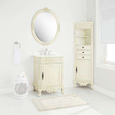 Winslow 26 in. W x 22 in. D Vanity in Antique White with Marble Vanity Top in White with White Sink