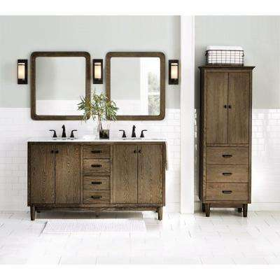 Brisbane 61 in. W x 22 in. D Double Bath Vanity in Weathered Grey Oak with Natural Marble Vanity Top in White