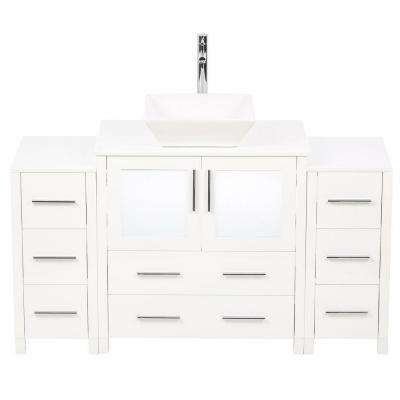 Torino 54 in. Vanity in White with Glass Stone Vanity Top in White with White Basin and Mirror