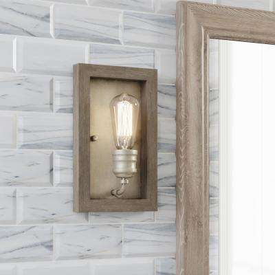 Palermo Grove 1-Light Antique Nickel Sconce with Painted Weathered Gray Wood Accents