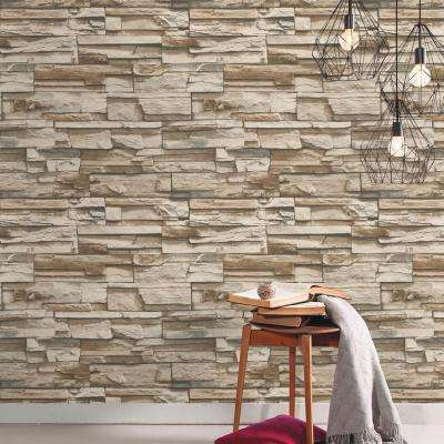 28.18 sq. ft. Gray and Brown Flat Stone Peel and Stick Decor