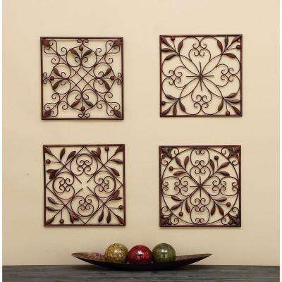 Assorted 14 in. Leaf Scroll Wall Plaques (Set of 4)
