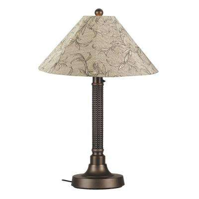 Bahama Weave 34 in. Dark Mahogany Outdoor Table Lamp with Bessemer Shade
