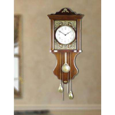 12 in. W x 4 in. D x 25 in. H Solid Wood European style Pendulum Wall Clock