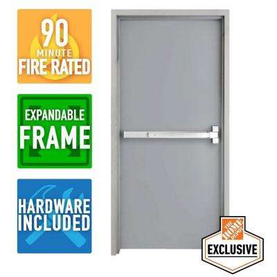 36 in. x 84 in. Fire-Rated Right-Hand Unfinished Steel Commercial Door Slab with Panic Bar and Adjustable Frame