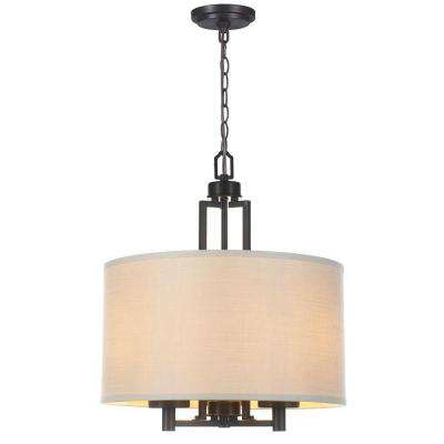 3-Light Oil-Rubbed Bronze Pendant with Off White Linen Shade