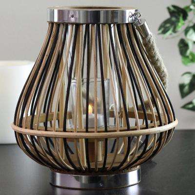 9.25 in. Rustic Chic Rattan Lantern Candle Holder