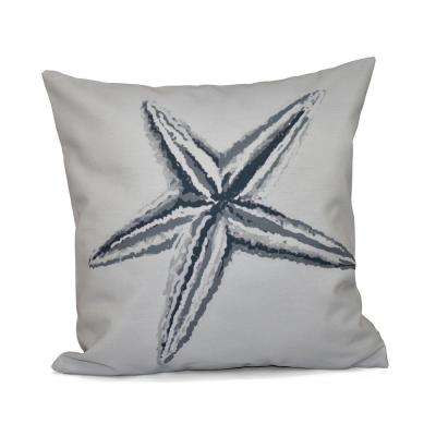 16 in. x 16 in. Starfish Decorative in Grey Pillow