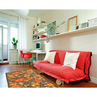 Sweet Home Collection Floral Design Brown 2 ft. x 5 ft. Indoor Runner Rug
