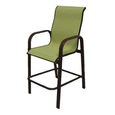 Marco Island Dark Cafe Brown Commercial Grade Aluminum Bar Height Patio Dining Chair with Dupione Kiwi Sling