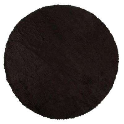 Faux Sheepskin Black 8 ft. Round Area Rug