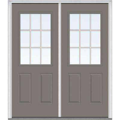 66 in. x 81.75 in. Classic Clear Glass GBG 1/2 Lite 2 Panel Painted Majestic Steel Exterior Double Door