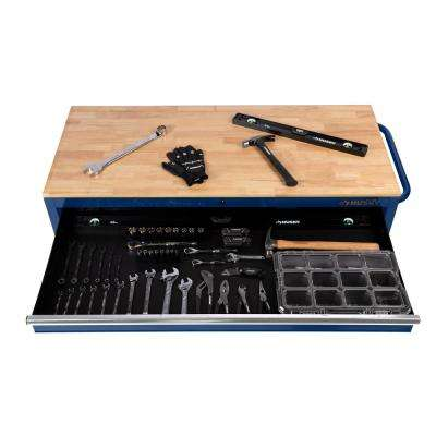 56 in. W 5-Drawer 1-Door, Deep Tool Chest Mobile Workbench in Gloss Blue with Hardwood Top