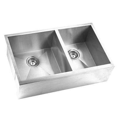 Farmhouse Apron Front Stainless Steel 33 in. Double Basin Kitchen Sink in Satin