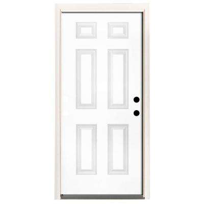 36 in. x 80 in. Premium 6-Panel Primed White Steel Prehung Front Door with 36 in. Left-Hand Inswing and 6 in. Wall