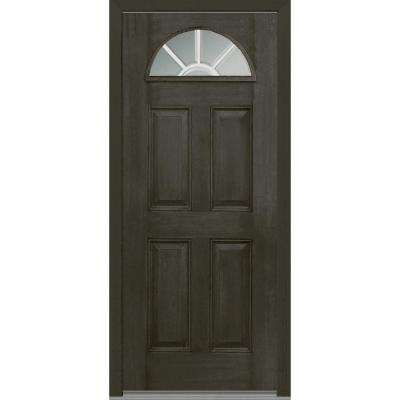 33.5 in. x 81.75 in. Classic Clear Glass GBG 1/4 Lite 4 Panel Finished Fiberglass Mahogany Exterior Door