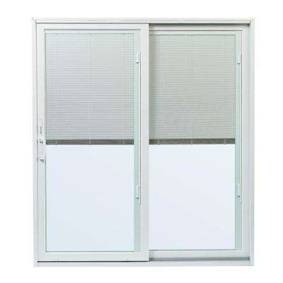 70-1/2 in.x79-1/2 in. 200 Series White Right-Hand Perma-Shield Gliding Patio Door w/ Built-In Blinds and White Hardware