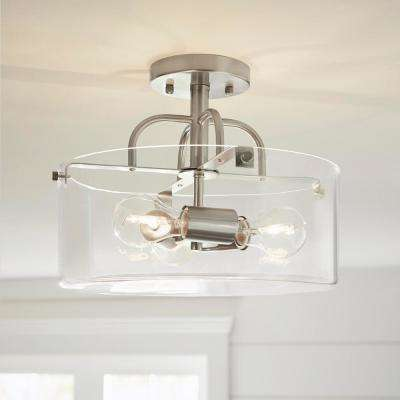 3-Light Brushed Nickel Semi-Flush Mount with Clear Glass Shade