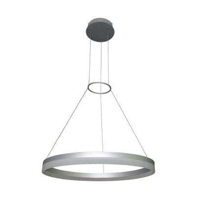 Tania Collection 18 in. Silver Integrated LED Adjustable Hanging Modern Circular Chandelier