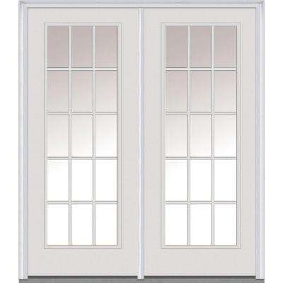 Classic Clear Glass Fiberglass Smooth Prehung Right-Hand Inswing 15 Lite GBG Patio Door