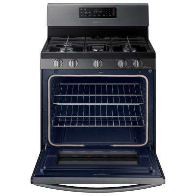 30 in. 5.8 cu. ft. Gas Range with Self-Cleaning Oven in Fingerprint Resistant Black Stainless