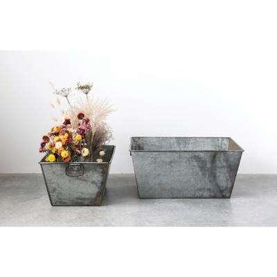 11 in. H Grey Metal Planters (2-Pack)