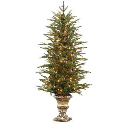 4.5 ft. Feel-Real Fraser Grande Potted Artificial Christmas Tree with 150 Clear Lights