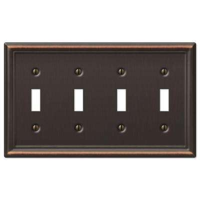 Chelsea 4 Toggle Wall Plate - Aged Bronze