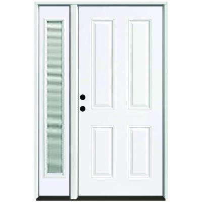 55 in. x 80 in. 4-Panel Primed White Right-Hand Steel Prehung Front Door with 16 in. Mini Blind Sidelite 6 in. Wall