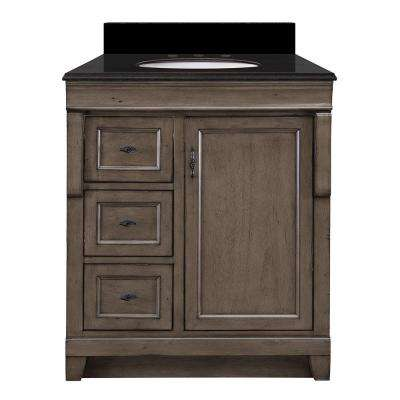 Naples 31 in. W x 22 in. D Vanity in Distressed Grey with Granite Vanity Top in Black with White Basin
