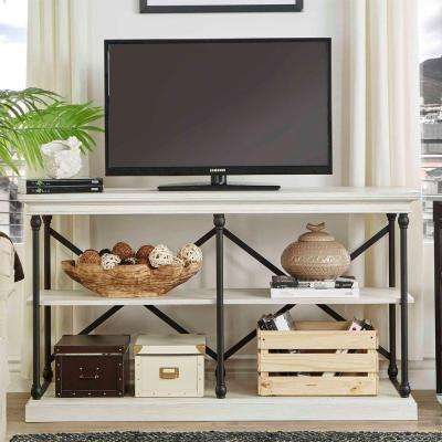 Manor Drive 2-Shelf TV Stand in White Wash