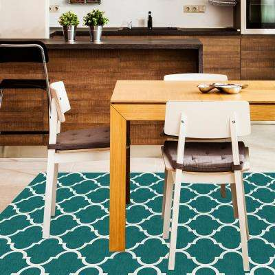 Washable Moroccan Trellis Teal 5 ft. x 7 ft. Stain Resistant Area Rug