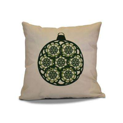 16 in. Snowflake Bulb Holiday Dark Green Pillow