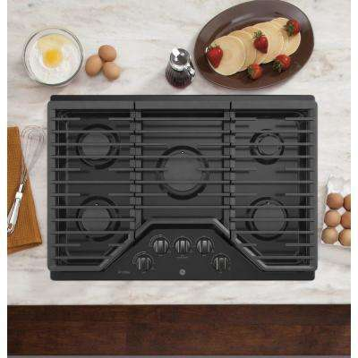 Profile 30 in. Gas Cooktop in Black Stainless Steel with 5 Burners including 18,000 BTU Power Boil Element