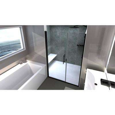 Illusion 43 in. to 44.25 in. x 66 in. Semi-Frameless Hinged Shower Door with C-Pull Handle in Black and Clear Glass