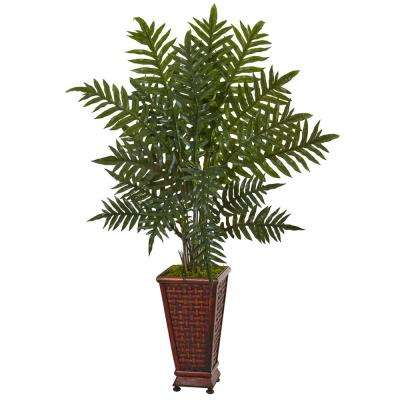 Indoor Evergreen Artificial Plant in Round Wood Planter