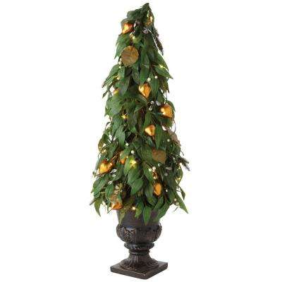 3.5 ft. Pre-Lit Artificial Christmas Tree with Gilded Pears