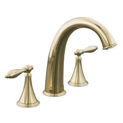 Finial Traditional 2-Handle Roman Tub Faucet Trim Kit with Lever Handles in Vibrant French Gold (Valve Not Included)