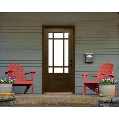 Craftsman 9 Lite Stained Mahogany Wood Prehung Front Door