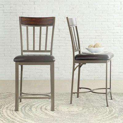 Evans Bronzed Pewter Mixed Media Barstool (Set of 2)