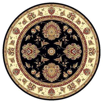 Classic Mahal Black 7 ft. 7 in. x 7 ft. 7 in. Round Area Rug