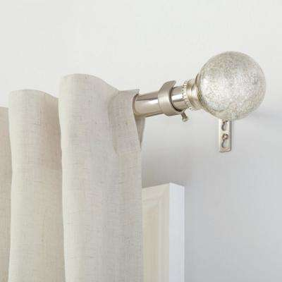 Mix and Match 1 in. Mercury Glass Sphere Curtain Rod Finial Set in Brushed Nickel (2-Pack)