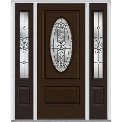 60 in. x 80 in. Cadence Left-Hand Oval 1-Panel Classic Painted Fiberglass Smooth Prehung Front Door with Sidelites