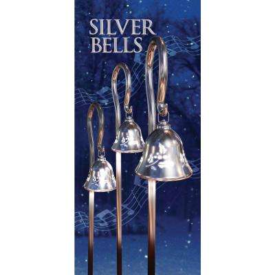 44 in. Silver Musical Pathway Bells with Shepherd's Hooks (Set of 3)