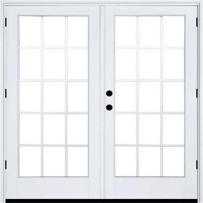 70-3/4 in. x 79 1/4 in. Fiberglass White Right-Hand Outswing Hinged Patio Door with 15 Lite External Grilles