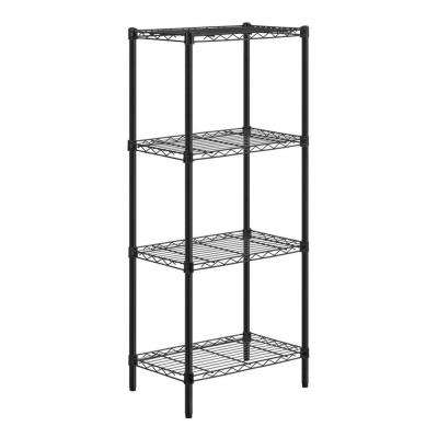54 in. H x 24 in. W x 14 in. D 4-Shelf Steel Shelving Unit in Black