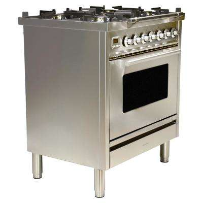 30 in. 3.0 cu. ft. Single Oven Dual Fuel Range with True Convection, 5 Burners in Stainless Steel